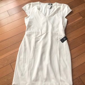 Express texture sheath Off white Dress